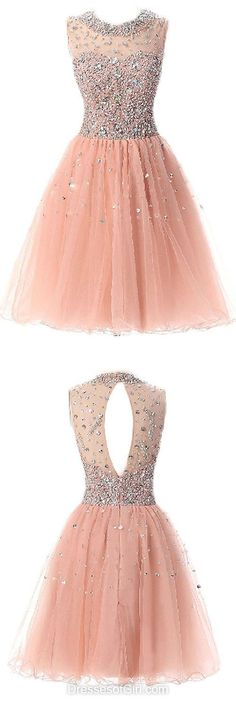 Elegant Homecoming Dress,Short Beaded Prom Gown,Tulle Party Dress,Homecoming