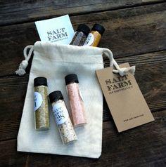 5 pack Gourmet Sea Salt Sampler. $22.00, via Etsy. Food Gifts, Diy Gifts, Black Truffle Salt, Gourmet Salt, Bath Salts, Creative Gifts, Sea Salt, Hostess Gifts, Truffles
