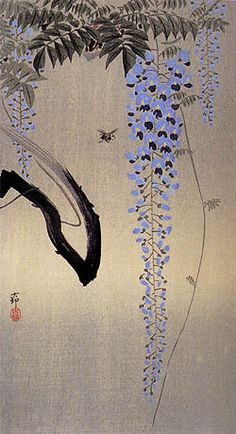 """Bee and Wisteria"" by Ohara Koson"