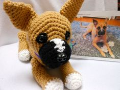 Crochet Dog Boxer Mix Custom Made Canine Stuffed by KatesCache, $55.00