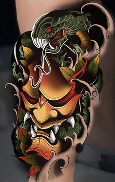 Japanese Oni Mask, Japanese Demon Tattoo, Half Sleeve Tattoos For Guys, Dragon Sleeve Tattoos, Lazo Tattoo, Mascara Hannya, Hanya Mask Tattoo, Frog Tattoos, Tatuajes Tattoos