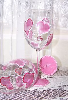 Items similar to Heart Wine Glasses Set of Two on Etsy Wine Glass Crafts, Wine Craft, Wine Bottle Crafts, Wine Bottle Glasses, Glitter Wine Glasses, Heart Glasses, Wine Bottles, Decorated Wine Glasses, Hand Painted Wine Glasses