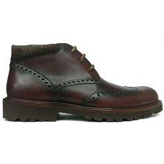 Zapato botín con pala vega en color marrón con forro de Tex Alive de Ashcroft vista lateral