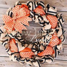 Fall Burlap Wreath - Black and Orange Chevron Burlap Wreath-Thanksgiving wreath Halloween Wreath- Front Door, Autumn Wreath, Fall Wreath by YellowBirdieBoutique on Etsy https://www.etsy.com/listing/203548784/fall-burlap-wreath-black-and-orange