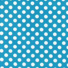 Turqoise Spot On Robert Kaufman Fabric 1 yard Turqoise and Whtie Polka Dot EZCSPRKHT Basics Blenders Textures on Etsy, $1.95