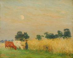 Émile Claus (Belgian, 1849-1924), Champ de blé à l'aube [Wheat field at dawn]. Oil on canvas, 42 x 53.5 cm.