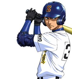 is hella hot(aka the same hot as miyuki) i LUV the way he looks when his up for bat them eyes OH YES! ANYWAY thts why i picked this pic OH and he's the captain! Baseball Anime, Baseball Art, Baseball Boyfriend, Baseball Memes, Baseball Crafts, Baseball Shirts, Baseball Players, Hot Anime Boy, Anime Guys