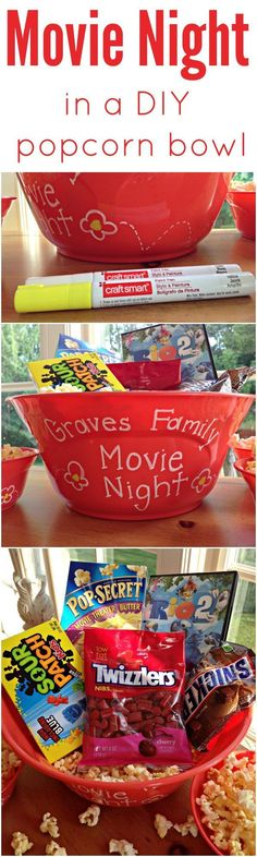 Fun hostess or holiday gift for a family with young kids. Family Movie Night in a personalized popcorn bowl. #PopForRio2 (Diy Christmas Baskets)
