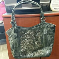 Frye Deborah Shoulder Bag Frye Deborah Shoulder bag...gray distressed studded leather. Beautiful bag. Frye Bags Shoulder Bags