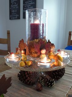 Fall decor but could use the crystal stand for Christmas holidays ect as I like how it looks with the candle light Friends Thanksgiving, Canadian Thanksgiving, Thanksgiving Decorations, Table Decorations, Thanksgiving Diy, Centerpieces, Pumpkin Decorating, Holiday Decorating, Decorating Ideas