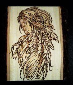 New Wood Plaque Pyrography Burned Wood With NativeWomen Art On Barkside Basswood | eBay