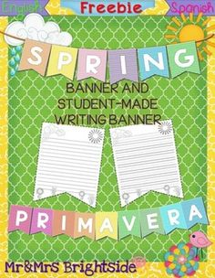 Download this free spring-themed banner to decorate your classroom while displaying your students work using the student-made banner printable. Have your students write about any spring topic using the writing sheet with primary lines or college-ruled lines.It is easy to use:1.