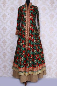 Black multicoloured tussar silk classy lehenga choli with chinese collar -GC500 - Indo Western - Gowns