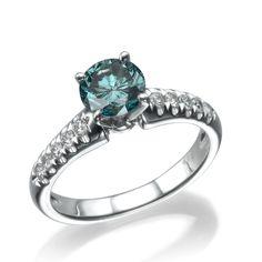 3.1 Carat Round Cut Turquoise / VS2 Diamond Ring 14k W Gold Custom Size