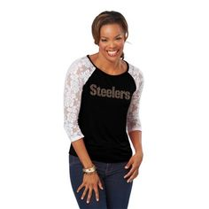 Meesh & Mia Pittsburgh Steelers Women's Heather Top with Lace Sleeves - Black