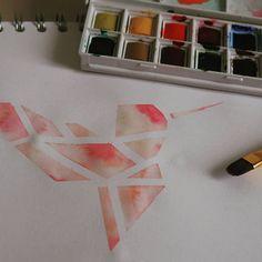 Origami Kolibri in Aquarellfarben #art #kunst #paint #painting #origami #origamiart #origamikolibri #kolibri #kolibriart #watercolorart…