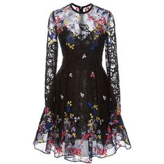 Elie Saab Long Sleeve Floral Dress (382.005 RUB) ❤ liked on Polyvore featuring dresses, elie saab, full length dresses, long-sleeve floral dresses, long sleeve dress, colorful cocktail dress and floral embroidered dress