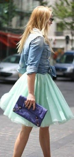 What a fun look!  The femininity of the  skirt mixed with roughness of the denim top is a great mix!  And I love the color combo too!
