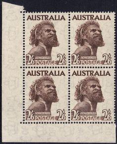 Australia 1952 Aborigine No Imprint Block of 4 MUH Postage Stamps, Australia, Stamps
