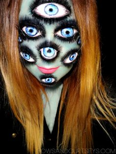 The Girl with Many Eyes Makeup Idea, Scary Halloween Makeup Ideas for Women, Men and Kids