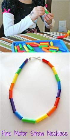 Fine Motor Straw Necklace - create this pretty rainbow necklace while working on fine motor skills. Fine Motor Straw Necklace - create this pretty rainbow necklace while working on fine motor skills. Toddler Crafts, Preschool Crafts, Toddler Activities, Crafts For Kids, Kids Diy, Summer Crafts, Baby Crafts, Motor Skills Activities, Fine Motor Skills