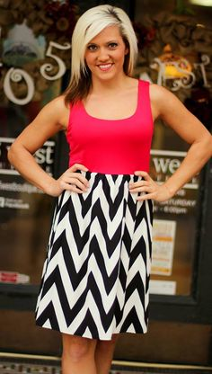 """Tailgating Chevron"" Dress shown in Red/Black/White.  Go Dawgs!  S, M, L.  $39.99.   Available at 105 West Boutique in Abbeville, SC. (864) 366-WEST. Shipping $5."