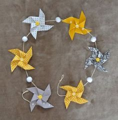 Garland of windmills in yellow, gray and white cotton - Origami Paper Art, Diy Paper, Paper Crafts, Fall Preschool Activities, Deco Originale, Baby Couture, Bee Theme, Paper Decorations, Crafts For Kids