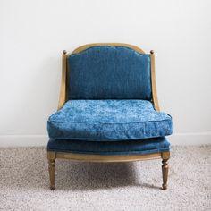 Indigo Blue Denim Velvet Chairs | Hollywood Regency | Mid-Century Modern…