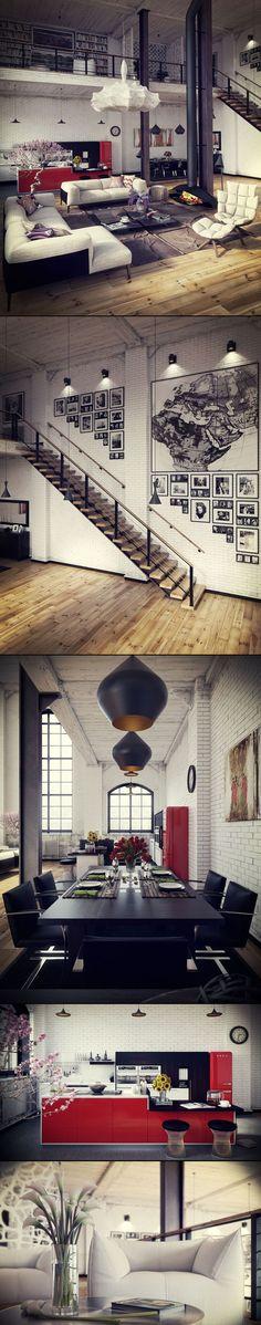Las lámparas de este ambiente industrial, le dan el toque vanguardista al espacio.