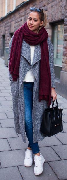 Grey Wide Lapel Coat by Kenzas