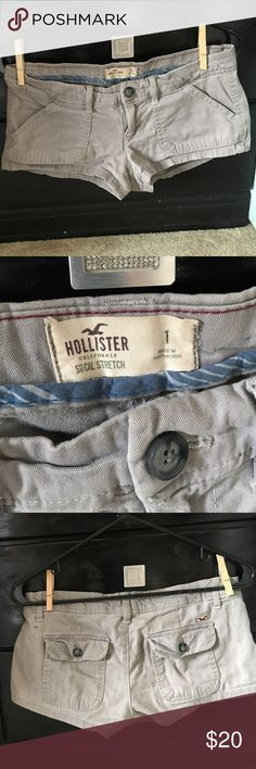 Hollister shorts Grey five pocket with flap back pockets shorts Hollister Shorts Cargos