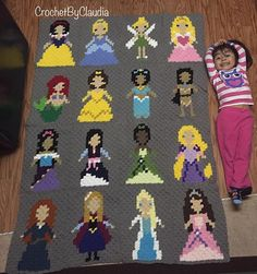 An update on my princess blanket! All the princesses are done, only needs a…