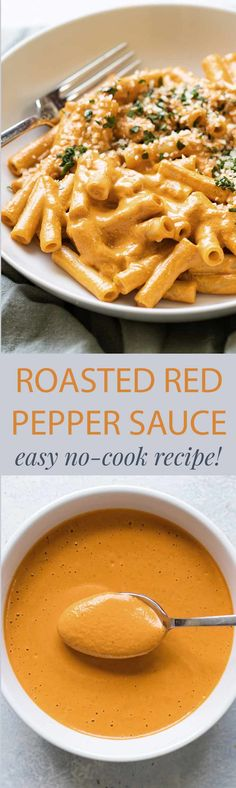 A quick and easy roasted red pepper sauce that takes just minutes to make! It's a no-cook blender sauce that's perfect with pasta.