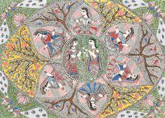 Rasa Mandala, Folk Art Madhubani Painting on Hand Made Paper Folk Painting from the Village of Madhubani (Bihar) Artist: Vibhooti Jha Madhubani Art, Madhubani Painting, Mandala Print, Mandala Drawing, Contemporary Decorative Art, India Art, Painted Books, Naive Art, Old Art