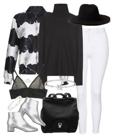 """""""white jeans + silver boots"""" by sophiasstyle ❤ liked on Polyvore featuring Topshop, Mother of Pearl, Balenciaga, REINHARD PLANK, Cartier, BaubleBar, Proenza Schouler, Marc by Marc Jacobs and winterwhite"""