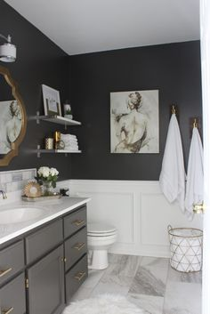 4 Good-Looking Clever Tips: Bathroom Remodel Dark Apartment Therapy bathroom remodel with window floors.Inexpensive Bathroom Remodel Tile mobile home bathroom remodel apartment therapy.Mobile Home Bathroom Remodel Apartment Therapy. Bathroom Interior, Bathroom Remodeling, Bathroom Gray, Bathroom Storage, Bathroom Shelves, Remodel Bathroom, Remodeling Ideas, Shower Remodel, Paint Bathroom