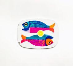 Vintage Retro Illustrated Pair of Fish Trivet by 6 MB Cork Trivet, Illustration Art, Illustrations, Screen Printing, Britain, 1960s, Mid Century, Fish, London