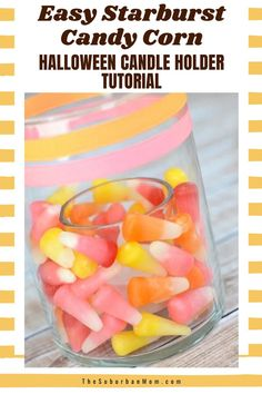 Complete your Halloween decors with this easy candy themed candle craft to create a scary theme! It is super festive and perfect for the spooky season! Check out the blog for more details on this Easy Starburst Candy Corn Halloween Candle Holder Tutorial. It comes with a DIY craft and an easy craft tutorial to help you create this masterpiece. Who doesn't love a candy corn craft right? #halloweencrafts #halloweenactivities #halloweendecorideas #easyDIYactivities Pretty Halloween, Halloween Crafts For Kids, Halloween Activities, Holidays Halloween, Halloween Candles, Halloween Decorations, Starburst Candy, Candy Corn Crafts, Candle Craft