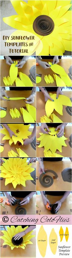 Giant Paper Sunflower Template Patterns and Tutorial- SVG Cut files for Cricut & Silhouette- DIY paper flowers- Printable Flower Templates DIYPaperFlowers - Easy Diy Home Decor Giant Paper Flowers, Diy Flowers, Fabric Flowers, Diy Paper, Paper Art, Paper Crafts, Sunflower Template, Decoration Evenementielle, Paper Sunflowers