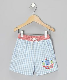 Look what I found on #zulily! Light Blue Gingham Pirate Smocked Shorts - Infant, Toddler & Boys #zulilyfinds