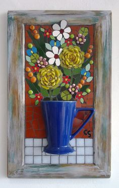 mosaic flowers in cup Mosaic Pots, Mosaic Glass, Mosaic Tiles, Tiling, Mosaic Crafts, Mosaic Projects, Art Projects, Mosaic Designs, Mosaic Patterns