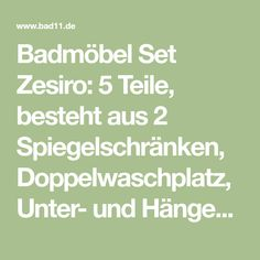 Badmöbel Set Zesiro: 5 Teile, besteht aus 2 Spiegelschränken, Doppelwaschplatz, Unter- und Hängeschrank, Hochglanz weiß. Jetzt bei Bad11 online kaufen!