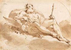 Ubaldo Gandolfi (1728–1781), Jupiter; Pen and brown ink and brown wash