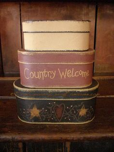 Primitive Country Welcome Stacking Boxes $19