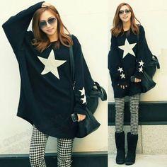 Oversized-Star-Print-Batwing-Dolman-Sleeve-Womens-Sweatshirt-Sweats-Outwear-Top