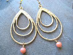 Gold Teardrop Earrings Pink Coral Earrings by debbyhawaii on Etsy, $22.00