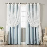 Shop for Aurora Home Mix & Match Blackout Tulle Lace Bronze Grommet 4 Piece Curtain Panel Set. Get free delivery On EVERYTHING* Overstock - Your Online Home Decor Outlet Store! Get in rewards with Club O! Tulle Curtains, Grommet Curtains, Window Curtains, Curtain Panels, Room Window, Window Panels, Blackout Panels, Blackout Curtains, Curtain Styles