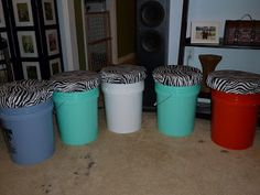 DIY bucket seats: great for packing things in, can personalize for each kiddo and easy seating for campfire.