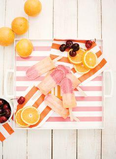 orange & cherry popsicles