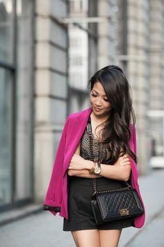 Lace Suit :: High-waisted shorts & Magenta blazer :: Outfit :: Top :: Elizabeth & James blazer, For Love & Lemons bodysuit Bottom :: DSQUARED2 Shoes :: Miu Miu Bag :: Chanel Accessories :: Michael Kors watch, Brandy Pham bracelets Published: June 17, 2015
